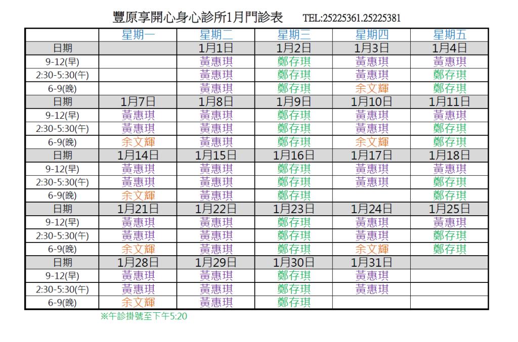 108.1享開心門診表